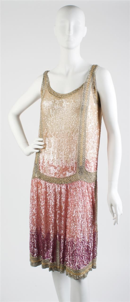 Tan, Pink and Purple Sequin Flapper Dress,   1920s,