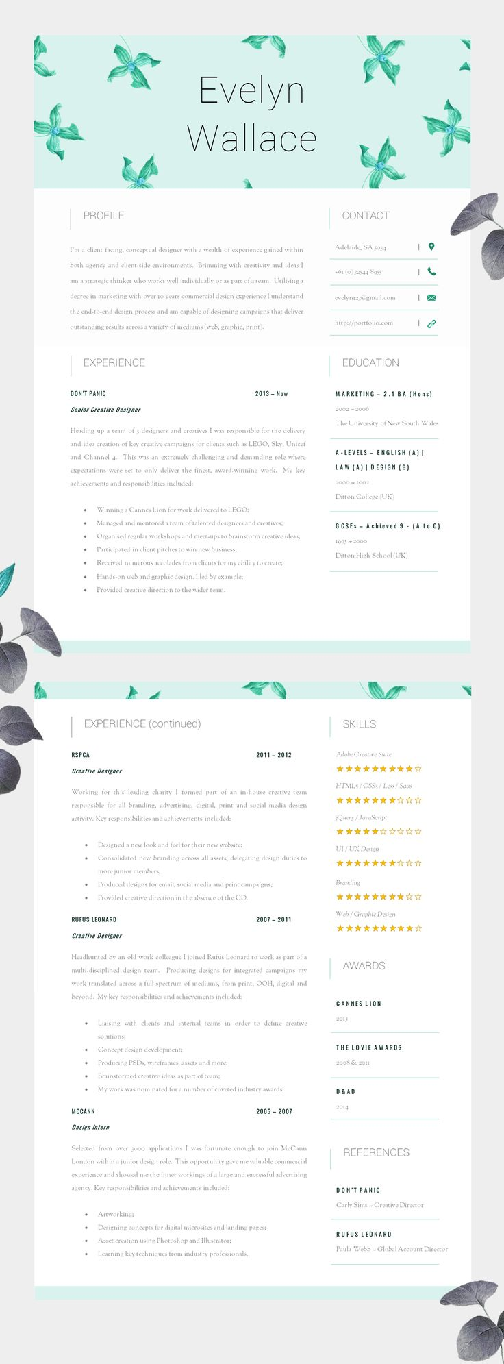 17 best images about resume design layouts high impact resume template two page cv cover letter advice printable for word the fielding creative cv beautifully designed