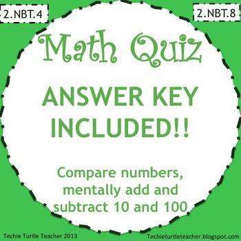 2.NBT.4 2.NBT.8 Math Quiz - Compare numbers, Mentally add ...