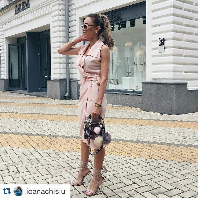 #Repost @ioanachisiu with @repostapp ・・・ Summer in #pitesti ⭐️ I'm wearing this beautiful rose quartz dress from @stada_boutique in my latest day here