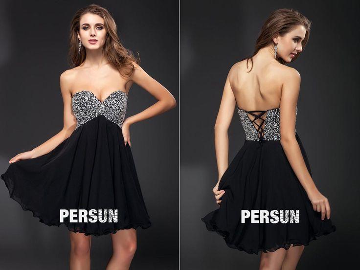 #Vestido de #Cóctel #Escote #Corazón #Gasa Apliques #Corte A - Persun.es