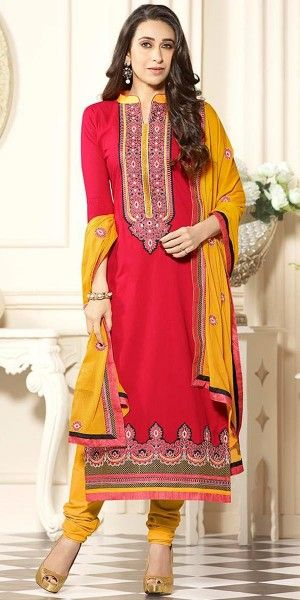 Karishma Kapoor Peach And Yellow Cotton Salwar Suit With Dupatta.