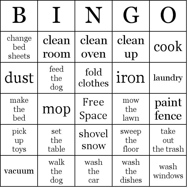 Make Your Own Bingo Card: Chore Bingo Card (you Can Make Your Own). They Came Up