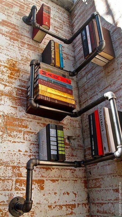 Мебель ручной работы. Ярмарка Мастеров - ручная работа. Купить Полка для книг из труб. Handmade. Темно-серый, полка настенная