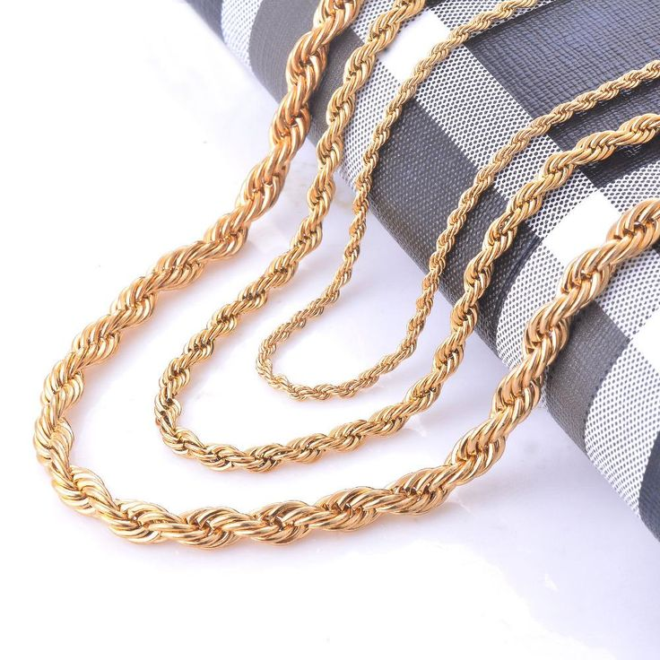 2/4/6mm Stainless Steel Gold Rope Chain Necklace Statement Twisted Necklace Chain Gold