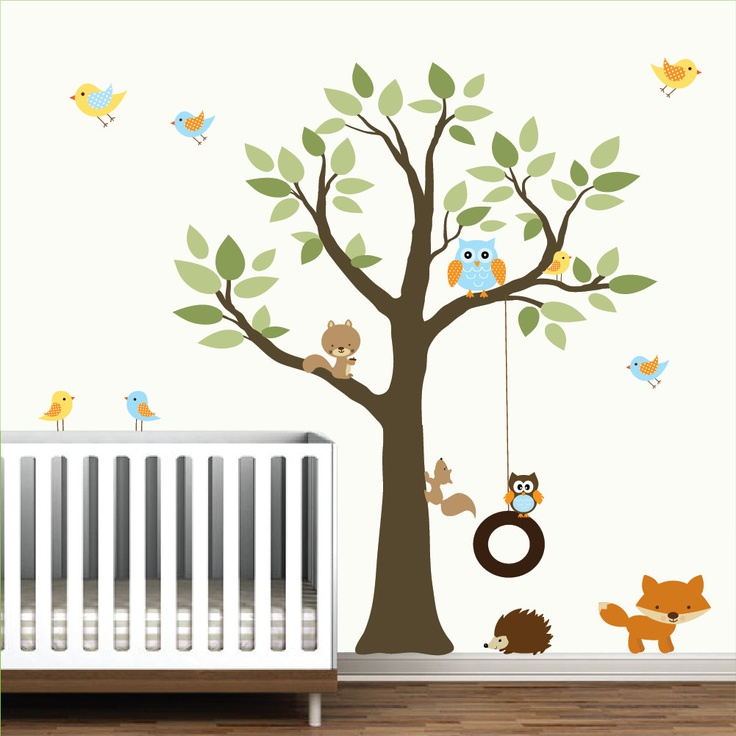 Wall Decals Vinyl Wall Decal tree with swing,forest ...