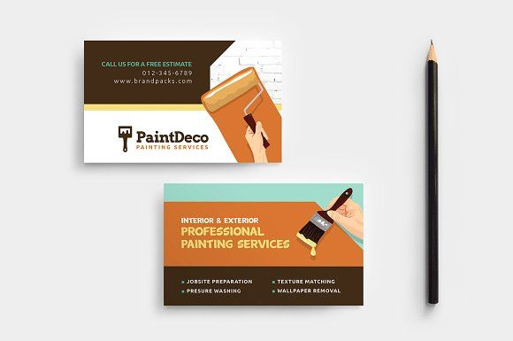 Painter Decorator Business Card Decorator Business Card Painter Business Card Business Cards Creative Templates