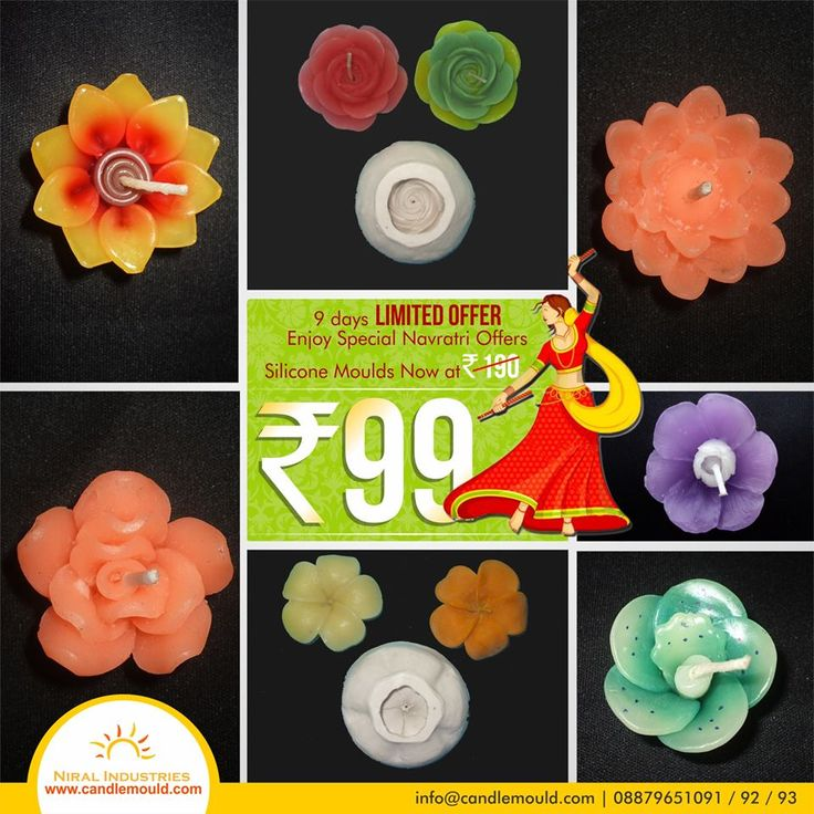 Let the celebrations begin !!!!!! Great Discounts on many products !!!!!!  Call Us: 08879651091 / 92 / 93  Visit Us: www.candlemould.com  #Niralindustries #celebrations #Discounts #products #NavratriOffer #SiliconeMoulds #Rs99only #Moulds #BuyNow #Hurry