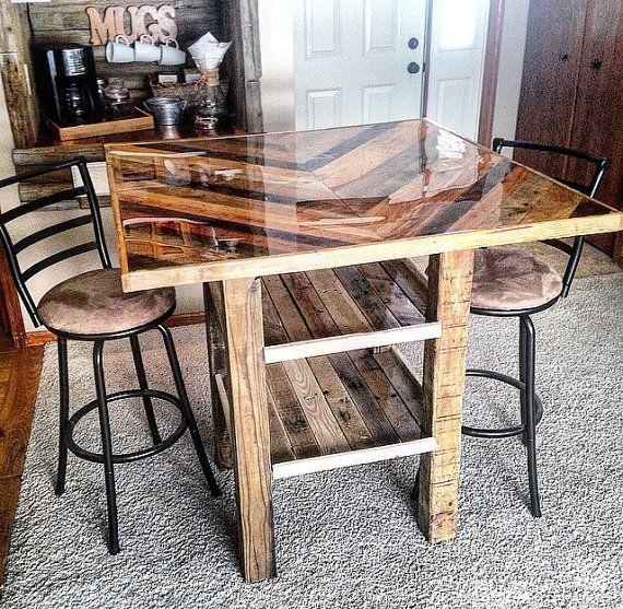 Mesa de bar de estilo Chevron por SerenityWoodwork en Etsy