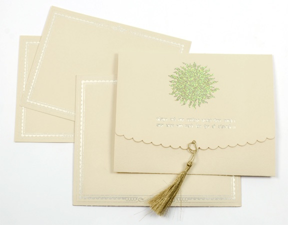 This Cream Colored Sikh Wedding Invitation Card Designed In The Jacket Style Has A