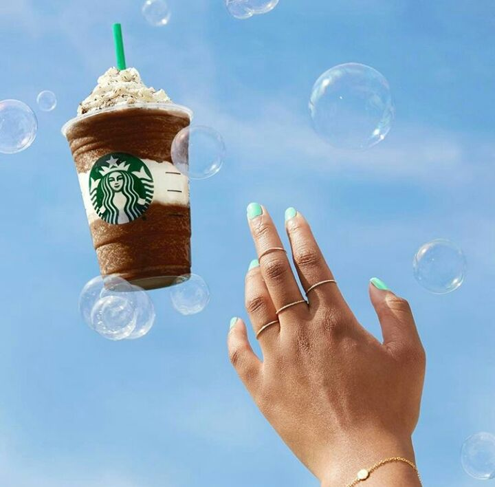 Go bubbles for a Frappuccino Starbucks
