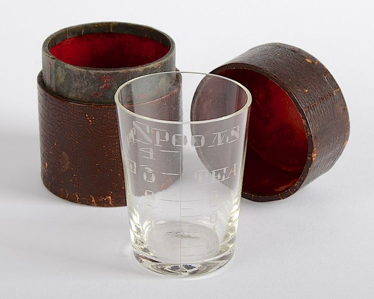 Victorian c1890 Glass Measure in leather bound red lined case. The Glass in Good Condition the Case in poor condition but in tact. Glass H. 6.25 cm. Dia. 3.5cm. Base. Dia. 4.75cm. Rim. http://www.antiques-atlas.com/antique/victorian_glass_measure_in_leather_bound_case/as645a103 #glass #medicinal #antique #victorian #glassware