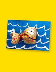 paper bag fish  -very simple for year 1 a good activity to use while teaching art room systems.