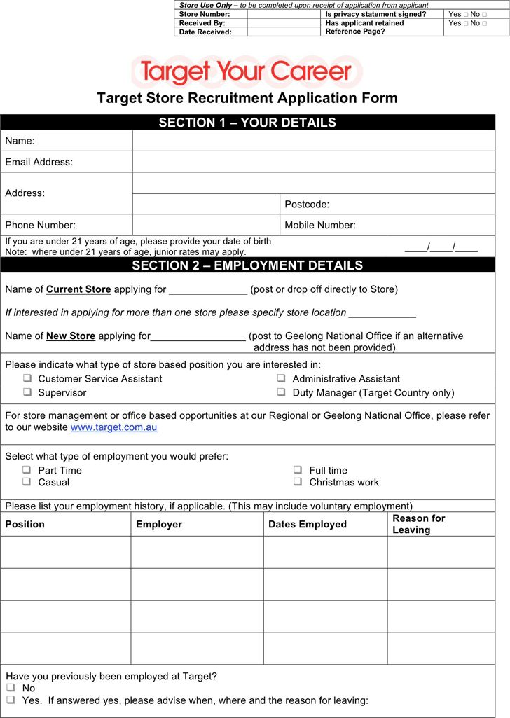 Target Application Form employment applications Pinterest - volunteer timesheet template