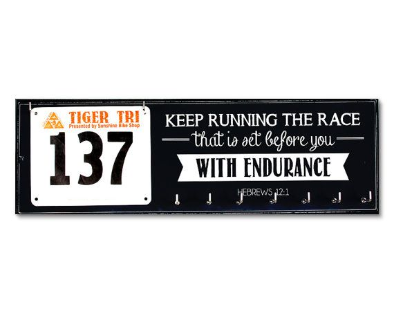 Race Bib and Medal Holder  - Hebrews12:1 - Keep Running the Race