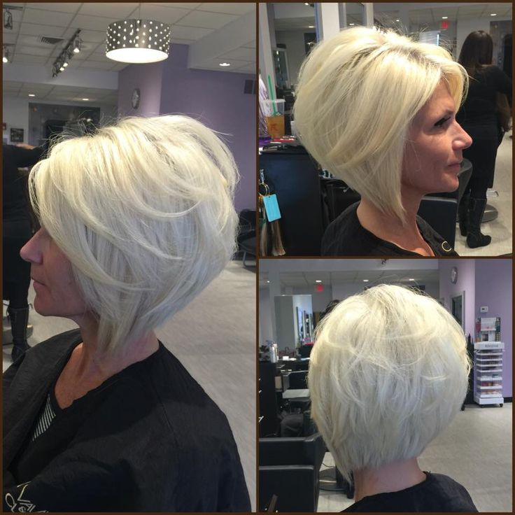 Layered angled bob by Gia platinum blonde by @adelleandrade #vaianiclarkesalon…