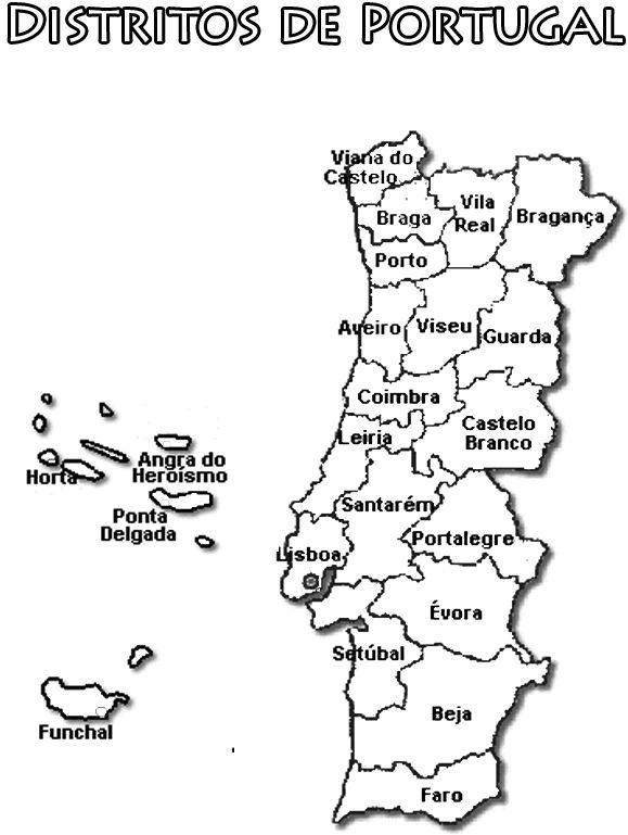 Carte des districts du Portugal