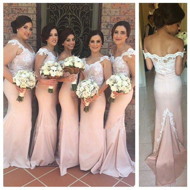 2015 New Arrival Custom Made Floor-Length Pink Long Chiffon Mermaid Bridesmaid Dresses Appliques Sexy Wedding Party Dresses
