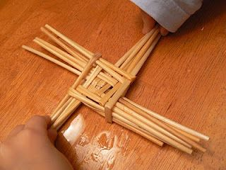 For Imbolc or Brigids Day, traditionally made with reeds, children can use pipe cleaners or straws to make the St. Bridgets cross