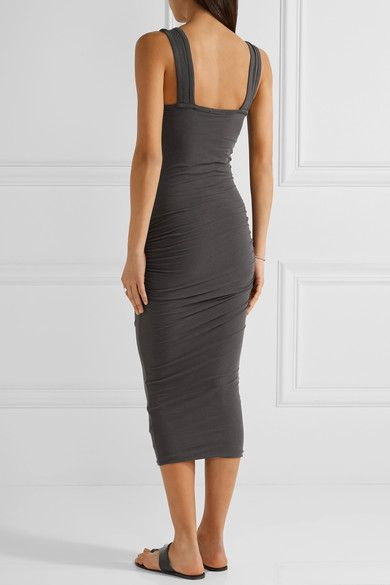 James Perse - Ruched Stretch-cotton Jersey Midi Dress - Charcoal - 0
