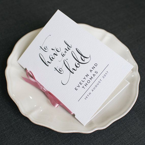 Modern Calligraphy Wedding Program To Have And Hold Ceremony Pocket Sized Order Of Service Elegant Mass Booklet ONE SAMPLE