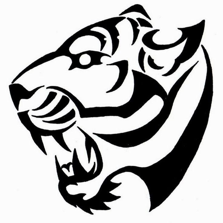 Very Nice Roaring Tribal Tiger Head Tattoo Design
