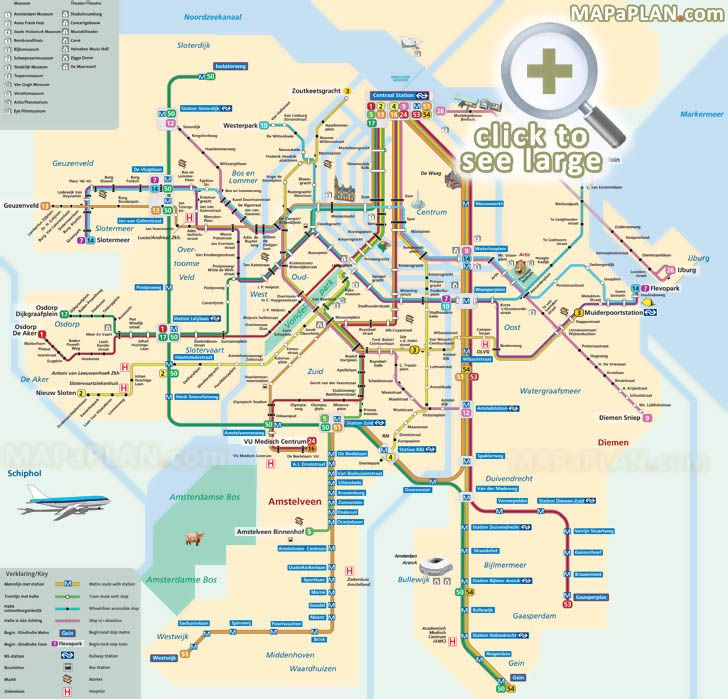 Tram metro subway underground tube English plan with best museums theatres Amsterdam top tourist attractions map