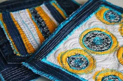 blue jean pot holders
