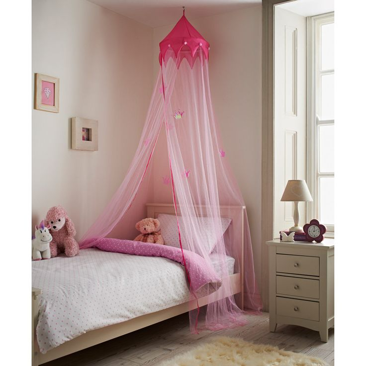 Princess Bed Canopy. Add a touch of fairytale magic to your bedroom and sleep in true princess style. Height: 230cm (Approx.) Diameter: 650cm (Approx.)