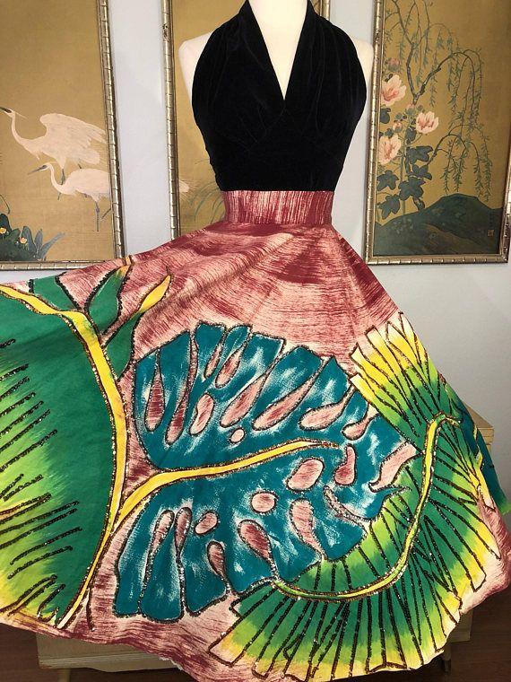 1950s Small Maya De Mexico Circle Skirt 50s Mexican Print Circle Skirt