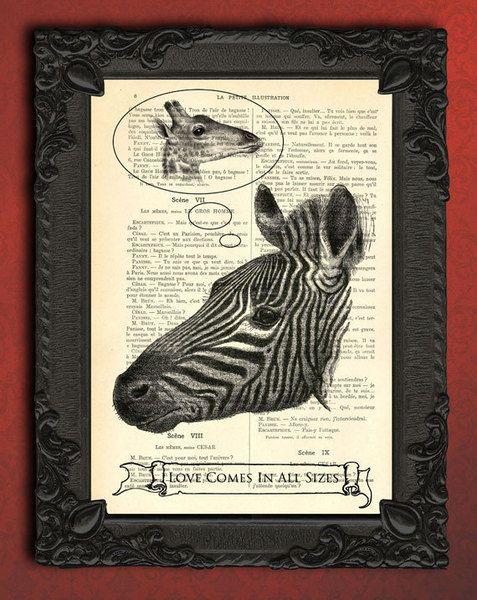 Illustrationen - Zebra Illustration - Liebe Druck, Giraffe Druck - ein Designerstück von MadameMemento bei DaWanda