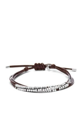 Fossil  Shiny Silver-Tone Nuggets And Chocolate Wristwrap Bracelet
