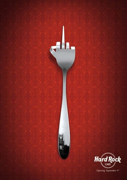"""The """"Hard Rock CAFE"""" metaphorically featured this fine-tuned 'FORK' for the promotion of their grand """"Opening on September 1st""""!"""