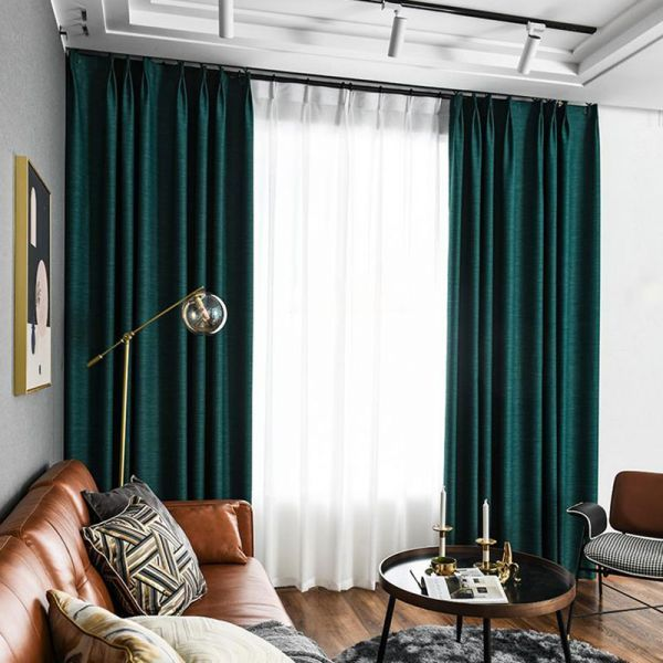 Living Room Solid Blackout Curtain Sets Energy Efficient 4 Prong Pinch Pleat Drapes In 2020 Green Curtains Living Room Green Walls Living Room Dark Green Living Room #teal #and #brown #curtains #for #living #room