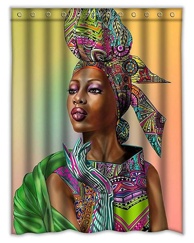 Amazon Com Homeshiny African Woman Shower Curtain Bath