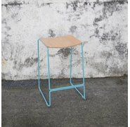 COLORADO WIRE BAR STOOL - DUCK EGG BLUE, PLY SEAT 65CM