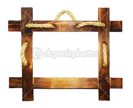 moldura de madeira com corda — Foto Stock © Maugli #12821372