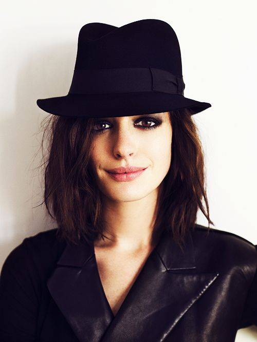 Anne Hathaway- dark eyes, messy hair, awesome hat