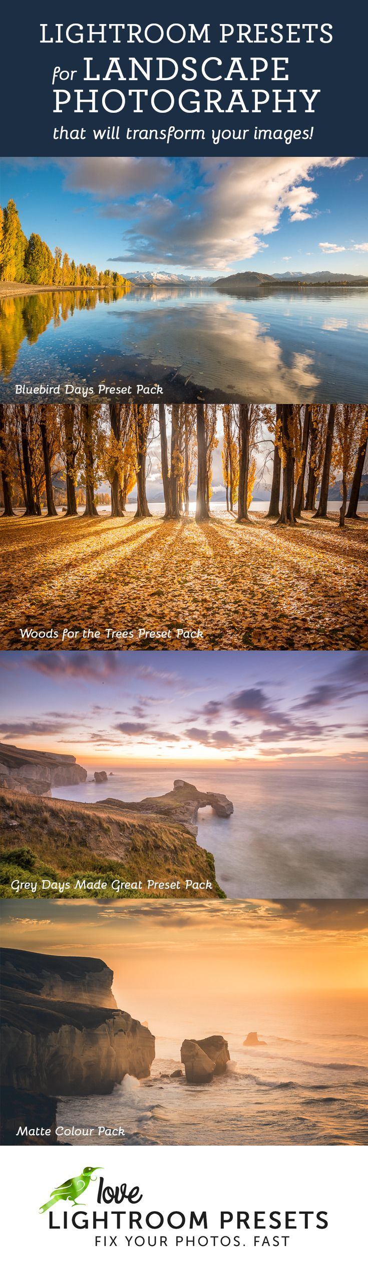 Rescue a sunset, make those grey day photos look great, enhance a blue sky - Adobe Lightroom Presets designed by a professional landscape photographer specifically for landscape editing.