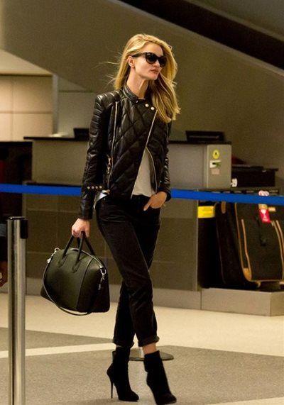ロージー・ハンティントン=ホワイトリー - キルティングレザーのライダースにアンクルパンツでロサンゼルス国際空港スタイル | CELEB SNAP