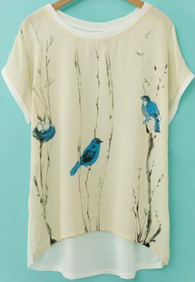 13.00 Beige Short Sleeve Birds Print Chiffon T-Shirt