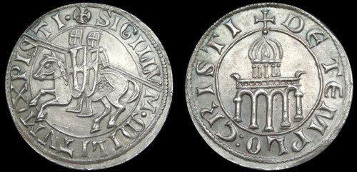 Knights Templar Denarius token aluminum by antiquanova on Etsy, $1.50