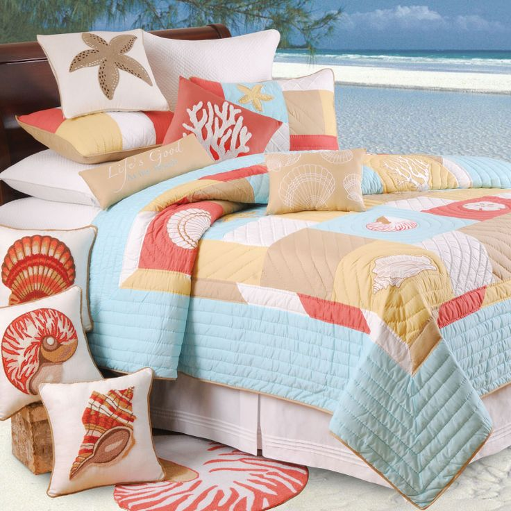nautical quilts | The St. Lucia bedding collections brings shells, starfish and colors ...