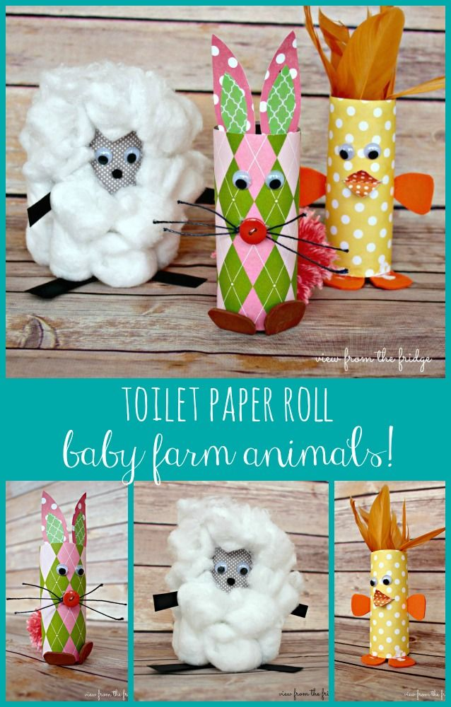 Too Cute ! Kid's Craft Toilet Paper Roll Spring Baby Farm Animals