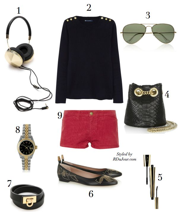 Outfit of the Day No.502 #OOTD FRENDS Headphones Petite Bateau Sweater Ray Ban Aviators Delphine Delafon Bucket Bag Charlotte Gainsbourg Current Elloitt Shorts Vintage Rolex Watch
