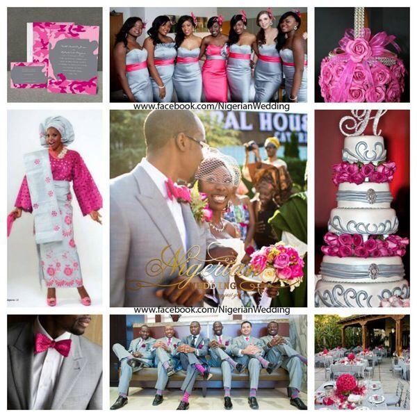 Grey And Fuchsia Pink Wedding Color Scheme