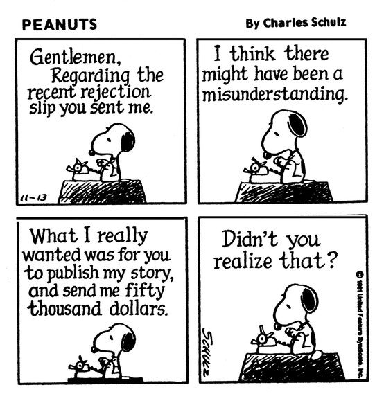 Snoopy on writing rejection. Funny!