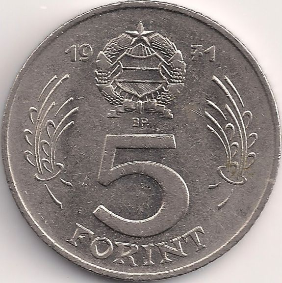 Wertseite: Münze-Europa-Mitteleuropa-Ungarn-Forint-5.00-1971-1982