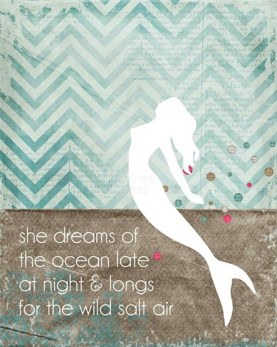 Mermaid Poster Gift for Teen Girl Ocean by hairbrainedschemes