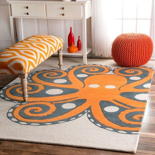 Handmade by Thomas Paul Octopus Orange Rug